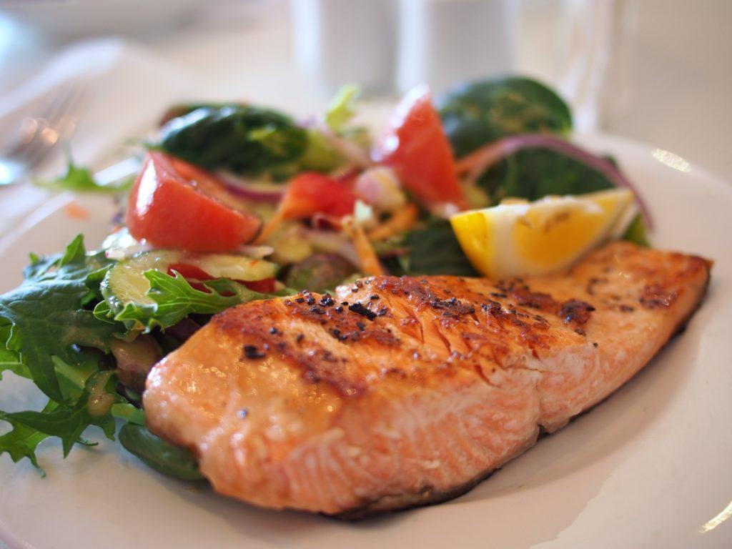 maple glazed salmon with a side salad